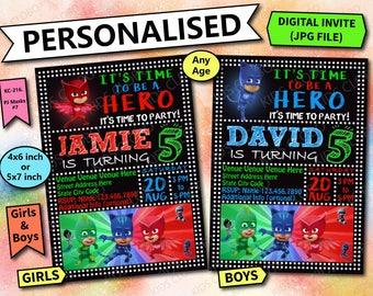 PJ Masks Invitation, PJ Masks Birthday, Pj Masks Invite, Pj Masks Party, Pj Masks Printable, Pj Masks Cards, PJ Masks Invites, Pj Masks Card