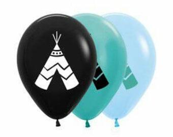 Teepee Balloons, Wild West Party, Indian Teepee Balloons, balloon size 30cm, Pkt of 5 balloons