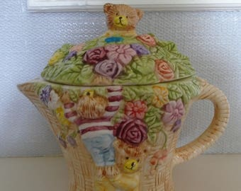 A  Novelty Teddy Bears Basket Tea Pot