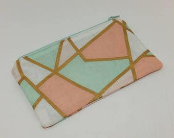 Golden Geometry Novelty Zipper Pouch - makeup bag; pencil case; gift for her; cosmetic bag; carry all; gadget case;