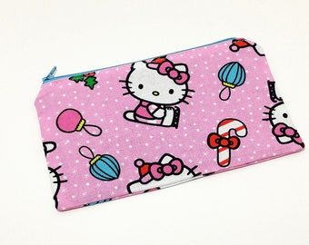 Hello Kitty Christmas Novelty Zipper Pouch - makeup bag; pencil case; gift for her; cosmetic bag; carry all; gadget case;