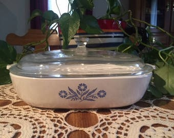 Vintage Blue Cornflower Corning Ware with Lid, casserole dish,