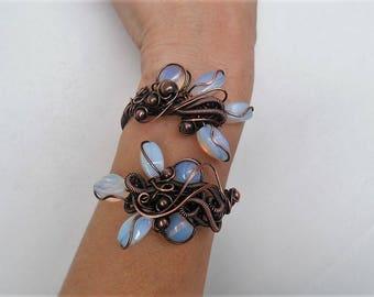 Opalite jewelry Wire Cuff bracelet Statement Cuff bracelet Unique wire bracelet Handmade bracelet Copper Cuff bracelet Copper Boho bracelet