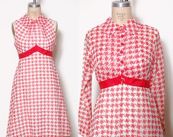 Vintage 50s red & white houndstooth dress / checker print dress / dress with matching jacket / printed 50s two piece dress