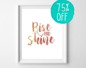 Rise and Shine, Art & Collectibles, Quote Prints, Printable Quotes, Quotes, Bedroom Decor, Home Decor, Art, Print, Digital, Black and White