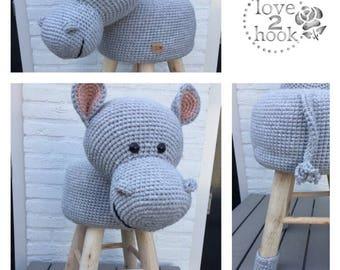 Animal stool hippo/Hippo Crochet