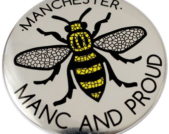 Manchester Manc and Proud Silver Fridge Magnet - Made in UK - Chrome Mirror Manchester Bee Northern Gift Mosaic Bee Mancunian Hacienda