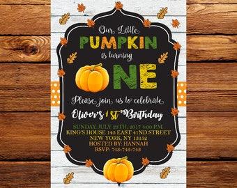 Pumpkin First Birthday Invitation, Pumpkin Birthday Invitation, Fall Birthday, Halloween Birthday, Pumpkin Invitation 01