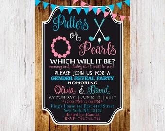 Gender Reveal Invitation, Gender reveal party, Putters or Pearls, Putters or Poms, Gender Reveal, Boy or Girl 206