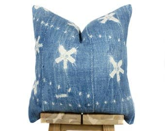 Rare Vintage African  Indigo Pillow Cover, African Pillow, Indigo Pillow