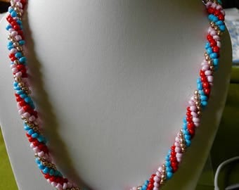 Handmade, unique, multi coloured Kumihimo style necklace