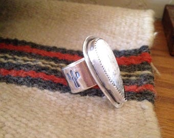 Wide band statement ring with white buffalo, size 9 3/4