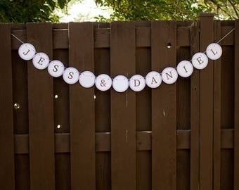 Just Married Custom Wedding Name Bunting Circles Bubbles Banner
