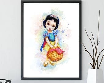 Snow white child print, Disney Princess Watercolor, Snow white Art, Snow white Print, Snow white Wall decor, Snow white Watercolor