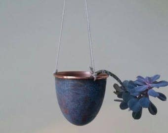 Handmade Solid Copper Hanging Plant Pot / Planter