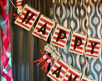 Dr. Seuss Birthday Banner -Thing 1 and Thing 2, Cat in the Hat