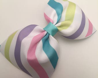 Hair Bow Candy Stripe Mint Clip