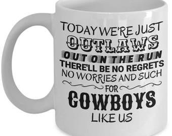 Cowboys Like Us George Strait Coffee Mug with country lyrics