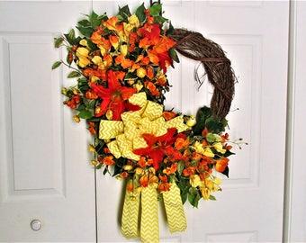 Spring Wreath, Wreath, Outdoor Wreath, Indoor Wreath, Grapevine Wreath, Orange Wreath, Front Door Wreath, Summer Wreath, Home Decor, Lily