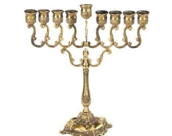 Hanukkah Menorah 10 inch BRASS