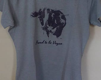Ladies Fitted T-Shirt: Proud to be vegan