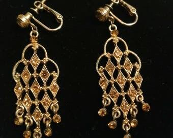 Beautiful Vintage Gold tone Rhinestone Clip on Screw back Earrings