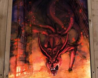 NARUTO KYUUBI Art Print Poster NINETAILS Kurama Illustration Painting