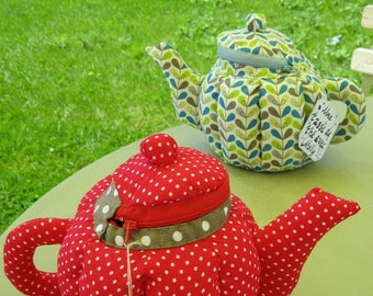 Teapot in fabric - unique handmade (red sold out of stock)