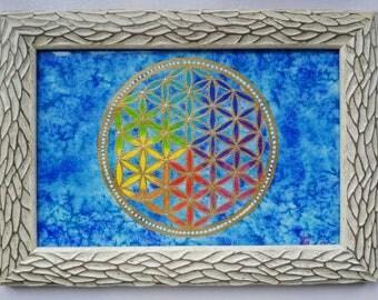 Original watercolor, mandala, Flower of life
