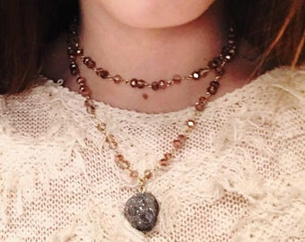 Double Wrap Beaded Necklace with Stone