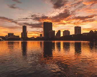 Florida Photography Prints / Sunset at Lake Eola, Orlando / Florida Print / Florida Landscape / Gifts for Friends and Family