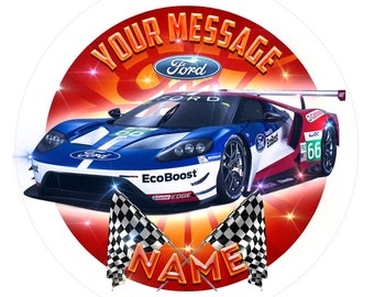 Personalised Ford GT Racing Car Edible Icing. Birthday Cake Topper Decoration 7.5""
