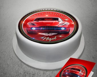 "Red Aston Martin Personalised Edible Icing Cake Topper 7.6"" with A5 Greeting Card"