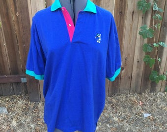 Vintage Colorblock Walt Disney Mickey Mouse Golfing Polo Collared Shirt