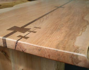 Maple with Black Walnut Bow tie Detailing Table