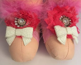 Pink fluffy bare foot sandals 6-12 months