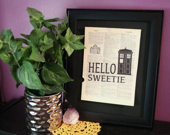 Hello Sweetie Tardis Inspired Vintage Dictionary Print, Doctor Who Gift, Sci Fi Gift, Sci Fi Wall Art, Dr. Who, Geek Gift, Geek Decor