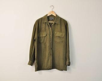 90s Minimal Blouse, Minimal Silk Blouse, Vintage 90s Blouse, Simple Neutral Blouse, 90s Silk Oxford, Oversized Blouse, Pocket Front Blouse