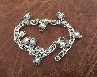 """8.5"""" silver plated chain bracelet with faux caged pearls"""