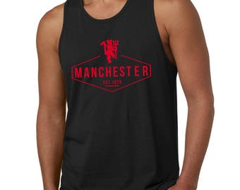 Manchester United Inspired Tank Top Tee (Black/Red) EPL Man Utd