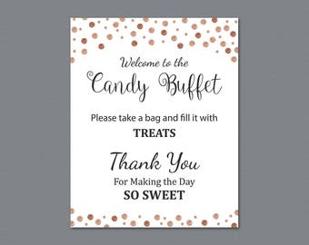 Candy Buffet Sign, Printable Candy Bar Sign, Rose Gold Confetti Table Sign, Grab a Treat Sign, Baby Shower, Bridal Shower Decor, A008
