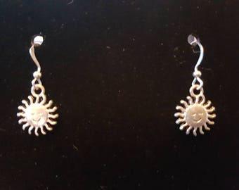 Silver smiling Sun earrings