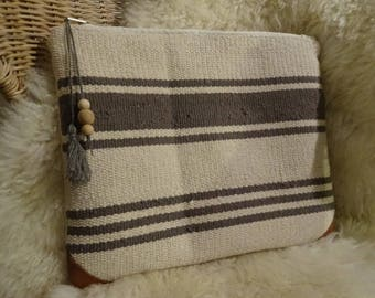 Leather and cotton pouch