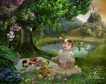 Digital background, Fairy tale, backdrop ,teddybears picnic, fantasy, children, composite,stock