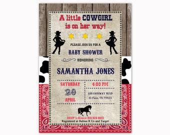 Cowgirl Baby Shower Invitation, Western Baby Shower Invitation, Cowgirl Baby Shower Invite, Bandana Baby Shower Invitation, Country Invite