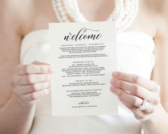 Wedding Itinerary Template, Printable Itinerary, Wedding Itinerary Card, Wedding Welcome Bag, Wedding Timeline Printable - KPC04_105