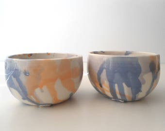 Set of 2 ceramic bowls, salad bowl, cereal bowl, dip bowl, hand made, water color comtemporary design,  colorful, blue, purple, orange