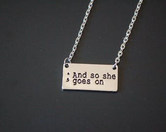 silver tone And so she goes on mental health awareness necklace