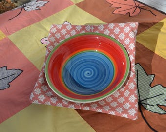 Bowl Lifters (set of two) - Keep Those Hands From Getting Burnt by Microwaved Food! Coral/Pink and White