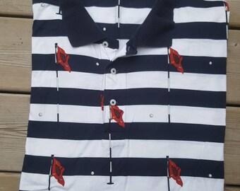 Polo Ralph Lauren Vintage Golf Polo Shirt All Over Golf Print Size XXL Mens Rare
